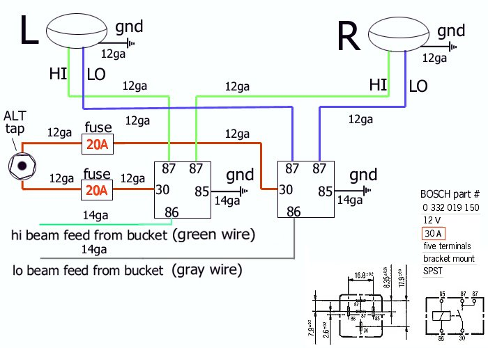 Bosch relay wiring a ford ignition switch on 1972 wiring diagram bosch relay wiring a ford ignition switch on on headlight relays alfa romeo bulletin board forums on asfbconference2016 Images